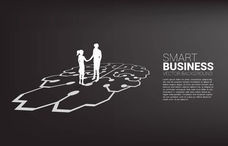 Silhouette of businessman and businesswoman handshake on brain graphic. Concept of team work partnership and cooperation strategy. Illustration