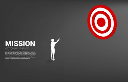 Silhouette businessman point at center of dartboard . Business Concept of marketing target and customer Illustration