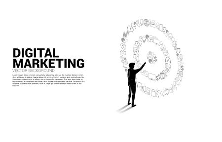 Silhouette businessman point at center of dartboard from marketing icon . Business Concept of marketing target and customer Illustration