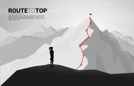 Businesswoman and Route to the top of mountain: Concept of Goal, Mission, Vision, Career path, Vector concept Polygon dot connect line style
