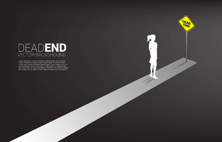 Silhouette businesswoman standing at the end of road with dead end signage . Concept of wrong decision in business or end of career path. Illustration