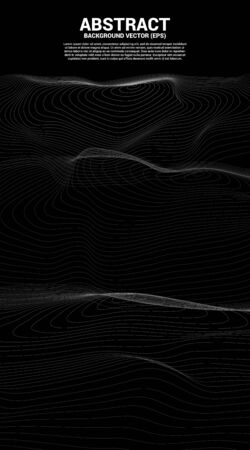 Digital Contour curve dot and line ripple and wave with wireframe . Abstract Background for 3D Futuristic technology concept Illustration