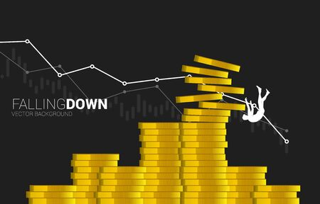 Silhouette of businessman falling down from stack of money coin. Concept of decline in business value and revenue. Illustration