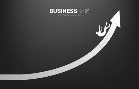 silhouette of businessman slip and falling down from growing arrow. Concept for fail and accidental business Illustration