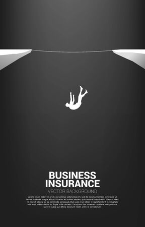 Silhouette of businessman falling down from rope walk way.Concept for business risk and fail