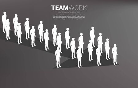 Group of businessman standing together shape arrow. business concept for company mission and teamwork.