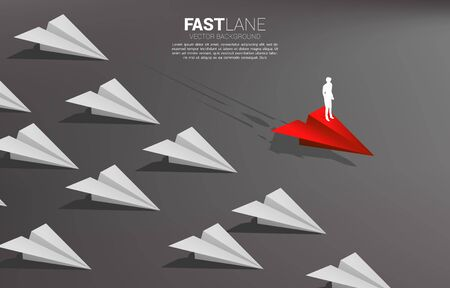 businessman standing on red origami paper airplane is move faster than group of white. Business Concept of fast lane for moving and marketing