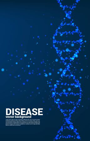 Close up particle virus around DNA structure background. Concept for Hereditary disease and illness. Çizim