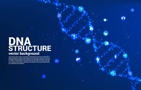 vector DNA genetic structure from dot random with icon. background concept for biotechnology and biology scientific.