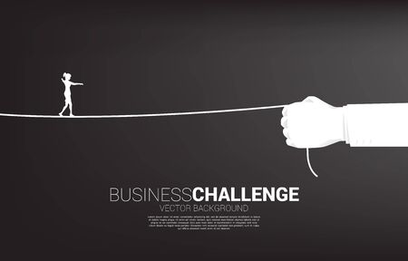 silhouette of businesswoman walk rope in businesswoman hand. Concept of Business challenge and career path.