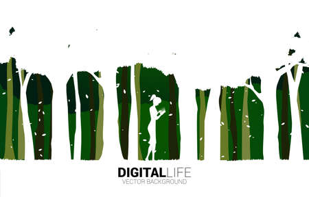 Silhouette of woman use mobile phone in green park. Concept for digital life with natural