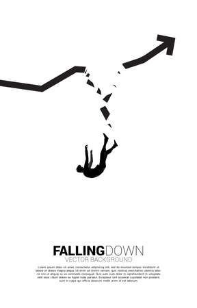 silhouette of businessman falling down from broken graph. Concept for fail and accidental business