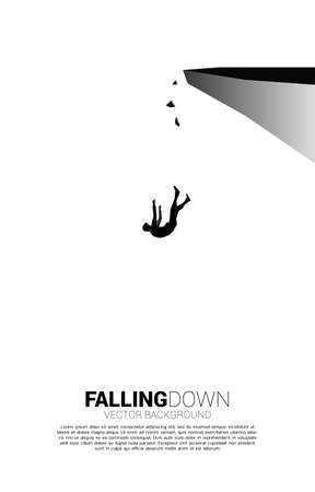 silhouette of businessman slip and falling down from the cliff. Concept for fail and accidental business Illustration