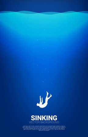 silhouette of businessman sinking down in water. Concept for fail and accidental business