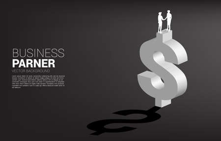 Silhouette of businessman hand shake on dollar currency icon. Concept for Business financial partnership.