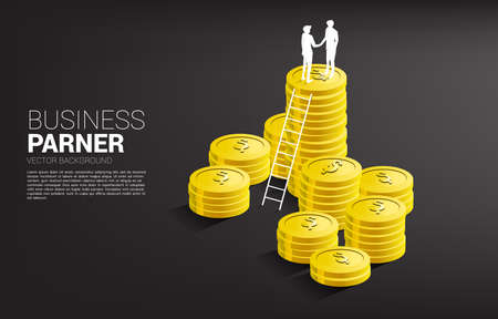 Silhouette of businessman handshake on top of coin stack with ladder . Concept of business partnership and cooperation.