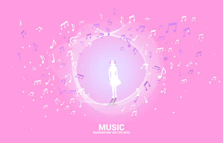 silhouette of woman with headphone and music melody note dancing flow . Concept background for song and concert theme. Illustration
