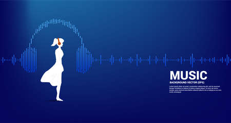 Silhouette of woman with headphone and Sound wave Music Equalizer background. audio visual headphone icon with line wave graphic style