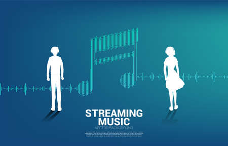 Silhouette of man and woman with equalizer wave as music note. Music and sound technology concept Illustration