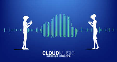 Silhouette of man and woman with Cloud music and sound technology concept .equalizer wave as cloud shape