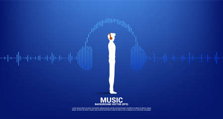 Silhouette of man with headphone and Sound wave Music Equalizer background. audio visual headphone icon with line wave graphic style