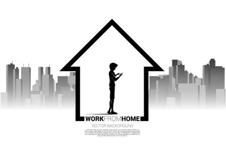 Silhouette of man use mobile phone in home with city background. Concept for remote work from home and technology.
