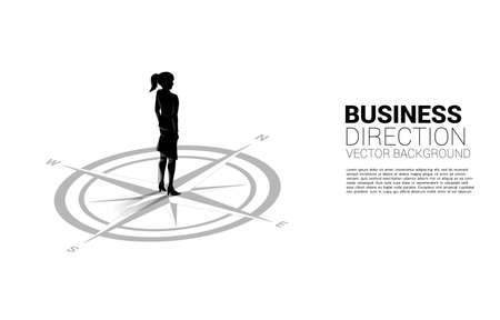 Silhouette of businesswoman standing at center of compass on floor.Concept of career path and business direction