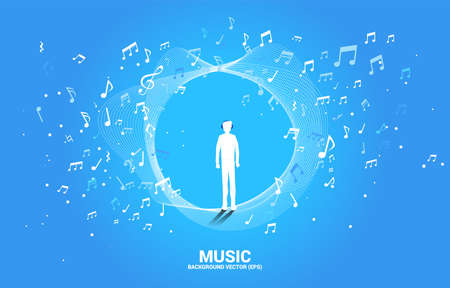 silhouette of man with headphone and music melody note dancing flow. Concept background for song and concert theme.