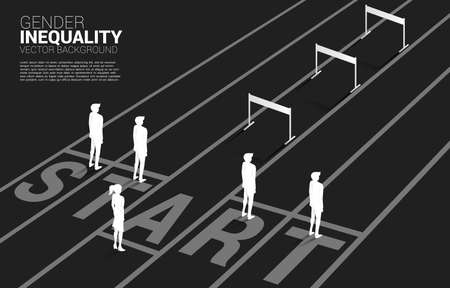Silhouette hurdles obstacle in front of only one businesswoman . Concept of career obstacles and gender inequality