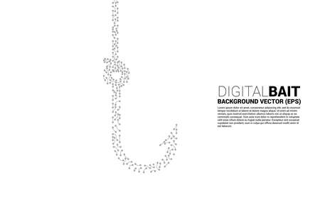 vector fishing hook from dot connect line circuit board graphic. Concept of digital scam and fraud in business.