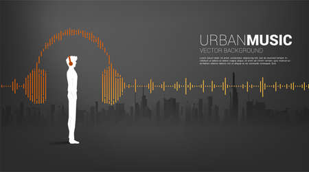 Silhouette of man with headphone and Sound wave Music Equalizer background with city background. audio visual headphone icon with line wave graphic style Illustration
