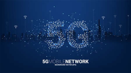 Polygon dot connect line shaped 5G mobile networking with city background. Concept for mobile sim card technology and network.