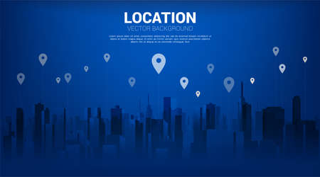 GPS pin marker with city background. concept of location and facility place , GPS technology