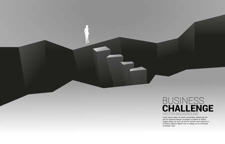 silhouette of businessman standing at valley. concept of business challenge and courage man Illustration