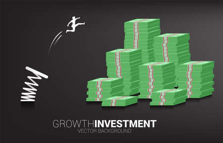 Silhouette of businessman jump to money banknote stack with spring. Concept of boost and growth in business.