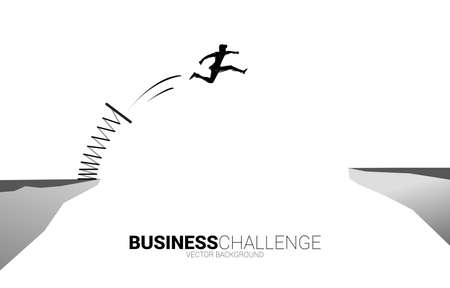 Silhouette of businessman jump over the gap with springboard. Concept of boost and growth in business. Illustration