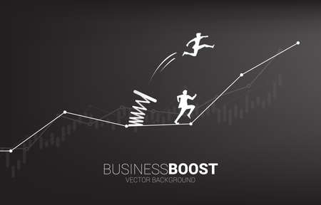Silhouette of businessman jump over head the other on graph with spring. Concept of boost and growth in business.