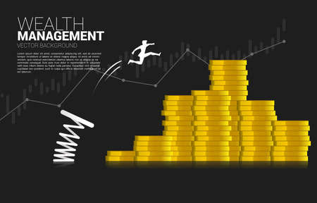 Silhouette of businessman jump to money coin stack with spring. Concept of boost and growth in business.