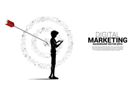 Silhouette man with mobile phone with point dartboard from marketing icon . Business Concept of marketing target and customer Illustration
