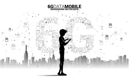 Silhouette man with mobile phone and 6G Data technology from online function icon. Concept for mobile telecommunication global network.