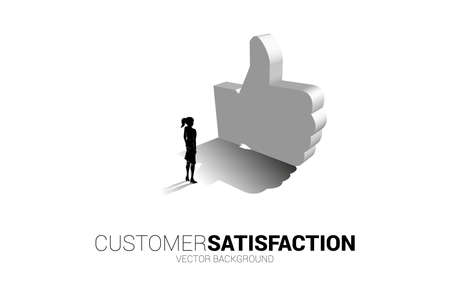 Silhouette businesswoman standing with 3D thumb up icon. concept of customer satisfaction , client rating and ranking.