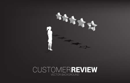 Silhouette businesswoman standing with 3D customer rating star. concept for client rating and ranking. Illustration