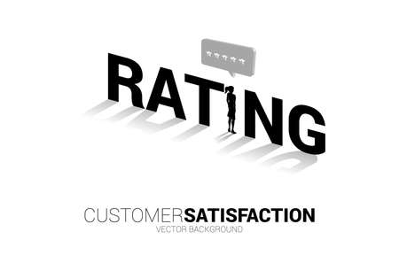 Silhouette businesswoman standing with 3D customer rating star in speech bubble . concept of customer satisfaction , client rating and ranking.