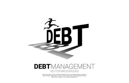 Silhouette businesswoman jumping across debt. Background concept for debt management and challenge in business Illustration