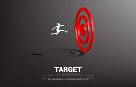 silhouette of businesswoman jump to target dartboard. Concept of vision mission and goal of business Illustration