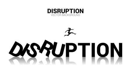Silhouette of businesswoman jump away from collapse domino. business concept of business disruption and domino effect