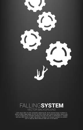 silhouette of businessman slip and falling down with gear. Concept for fail and falling system.