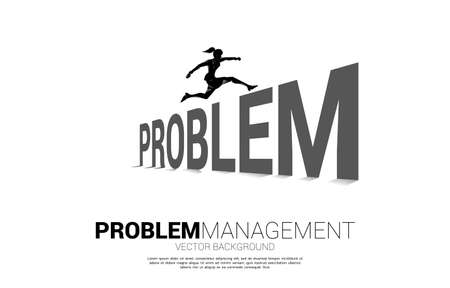 Silhouette businesswoman jumping across Problem. Background concept for crisis management and challenge in business