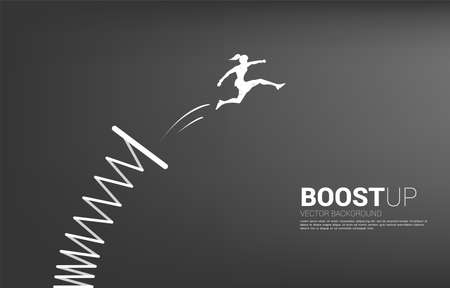 Silhouette of businesswoman jump higher with springboard. Concept of boost and growth in business. Ilustração