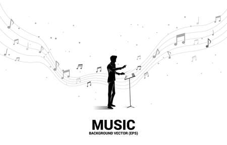 Vector silhouette of conductor standing with flying music note . Concept background for orchestra concert and recreation. Vettoriali